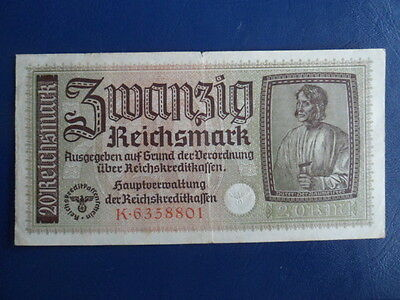 1941-45 Nazi German Occupied Territories 20 Reichsmark Bank Note-Good Cond-17-5