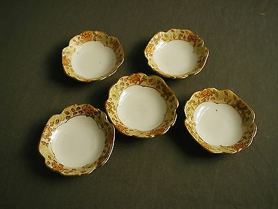 5 White Porcelain Butter Pats - Hand Painted Floral Nippon - Green Printing - 3""