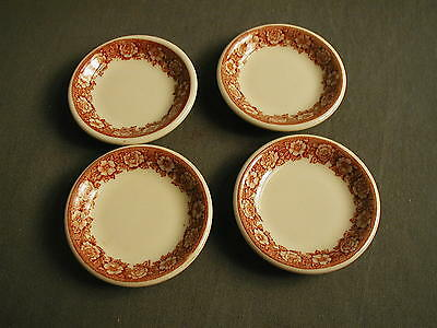 4 Ceramic Butter Pats Shenango China - Pottery Jar - Beige W/ Border Red Flowers