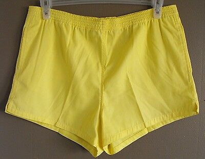 Vtg Yellow Carreau Sport Tennis Shorts Size L 14 70's high rise short