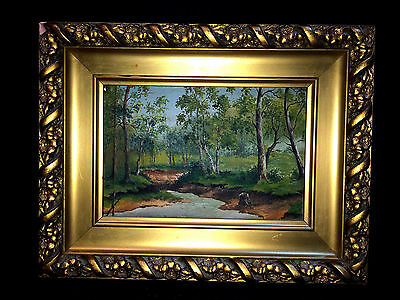 """Beautiful Oil On Canvas Stream Landscape Painting Antique Ornate 11.25""""x8.75"""""""