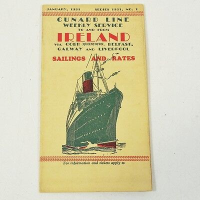 1931 Cunard Line Sailings and Rates Brochure - Weekly Service to Ireland