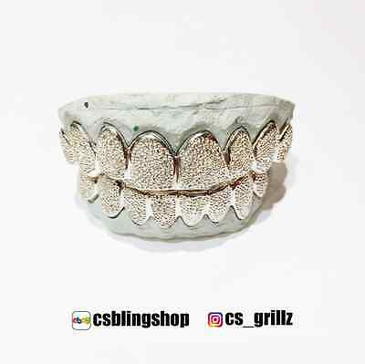 925 Sterling Silver Diamond Dust Punch Cut Custom Fit Handmade Real Grill Grillz