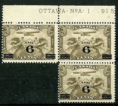 Weeda Canada C3 F MNH plate No. 1 inscription block of 3, Airmail issue CV $60