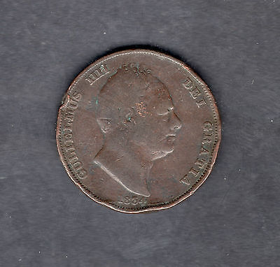 1834 Gulielmus One Penny Coin United Kingdom