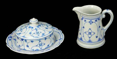 Vtg 2 Pc. Lot Silesia Domed Covered Butter & Creamer Blue / White Vine Patter...