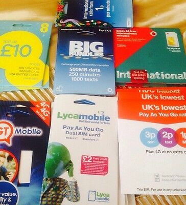100x Vodafone EE 3G Lyca 02 Simcards