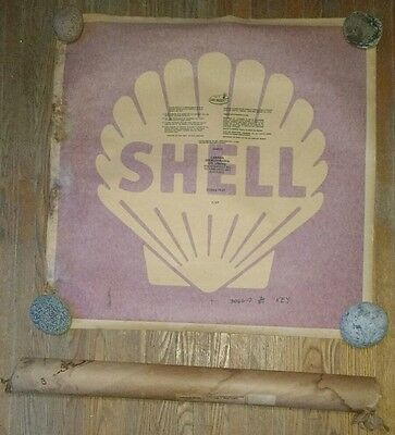 """Vintage SHELL Decal EXTRA LARGE 32"""" x 32"""" Squeegee Mount Emblem NOS"""