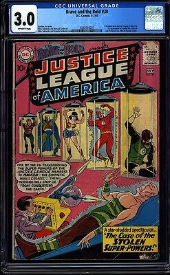 Brave and the Bold 30 CGC 3.0 OW Silver Age Key DC Comic 3rd JLA App. IGKC L@@K