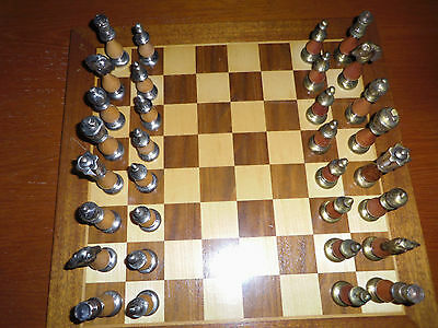 Vintage Wood and metal chess set & board