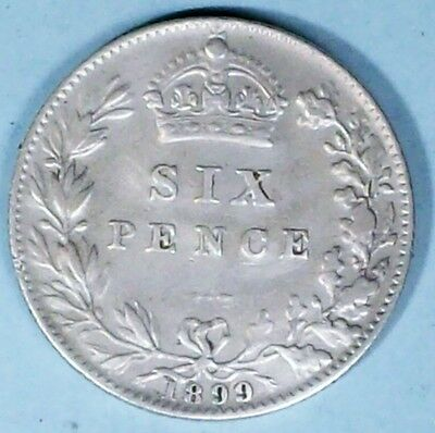 Great Britain 6 Pence 1899 Extra Fine 0.9250 Silver Coin