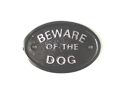 Silver 'beware Of The Dog'- House Plaque /  Wall Sign Garden - Black - New