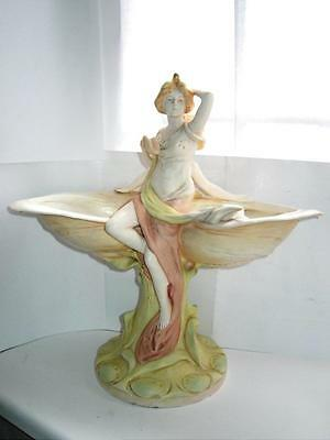 Large Art Nouveau Royal Dux Bohemia porcelain pair figures on shell 41cm C1920s
