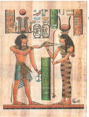 Egypt Ägypten Papyrus Hand Painted A5: Hathor Offering Menat To Ramsis II