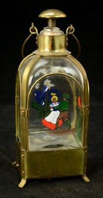 Vtg. Musical Brass Whiskey Decanter Hand Painted Swiss Dancers & Flowers L7Y