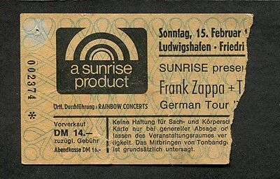 Original 1978 Frank Zappa concert ticket stub Germany Zoot Allures