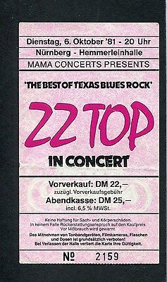 1981 ZZ Top Concert Ticket Stub Nuremberg Germany Motion Pearl Necklace