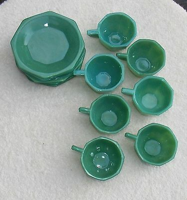 Vintage Akro Agate Green Slag Toy Dishes Octagonal 7 Plates 7 Tea Cups