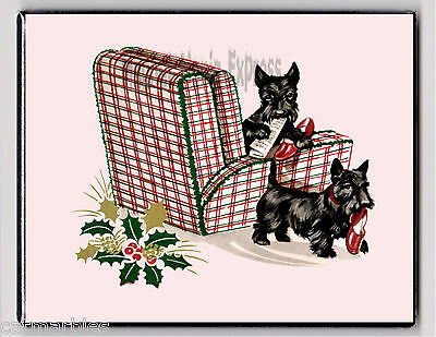 METAL MAGNET Christmas Holly Berries Scottish Terriers Dogs Terrier Dog Chair X