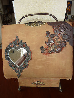 Antique Victorian photo album with easel stand
