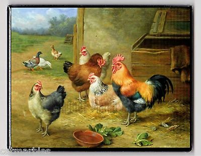METAL MAGNET Rooster Hens Chickens Hen Roosters Duck Ducks Painting MAGNET X