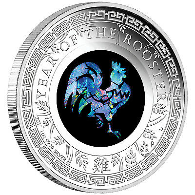 AUSTRALIAN OPAL ROOSTER 1oz  silver coin proof Perth Mint 2017