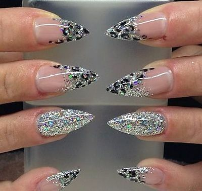 Silver glitter fading 20x stiletto nails with leopard print, fake nails