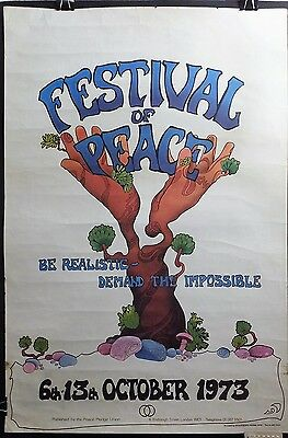 1973 London FESTIVAL of PEACE Vietnam War Protest Rally Poster Psychedelic
