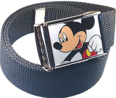 Mickey Mouse Belt Buckle Bottle Opener Adjustable Web Belt