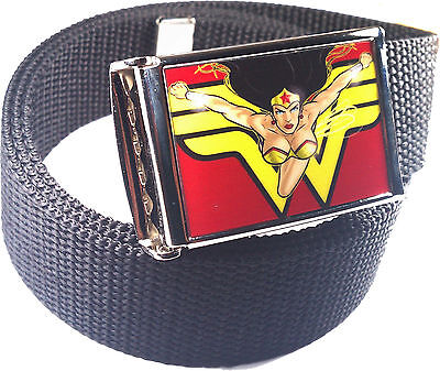 Wonder Woman Belt Buckle Bottle Opener Adjustable Web Belt