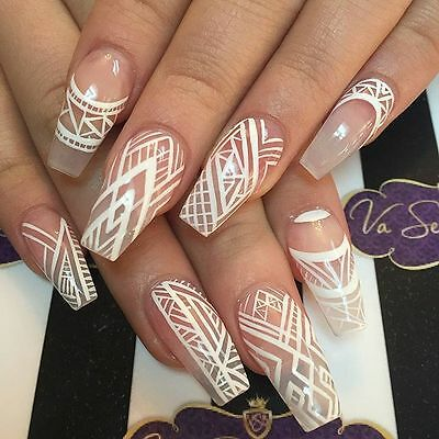 Medium ballerina natural with white lines design 20 nails, fake nails, stick on