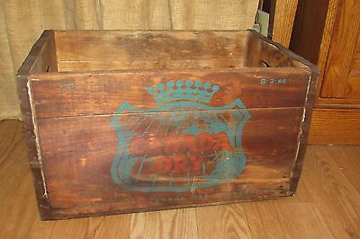 Vintage 1966 CANADA DRY Ginger Ale Soda Wooden Box Crate S-3-66 #3086