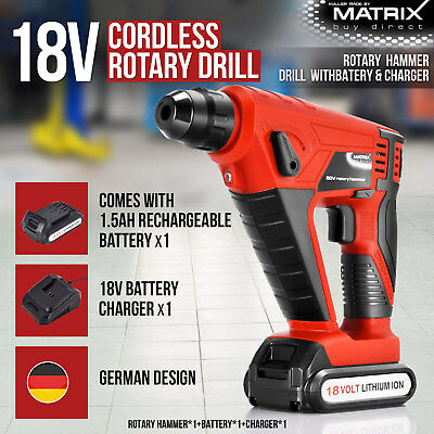 18V Cordless Rotary Hammer Drill 1.5Ah Rechargeable Battery Charger Power Tool