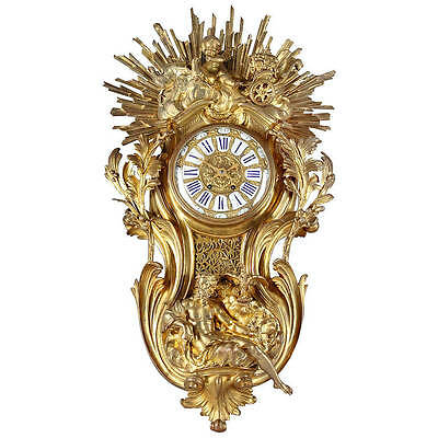 A Large 19th century French gilt Bronze Cartel Clock