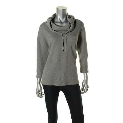 Style & Co. 6795 Womens Gray Thermal Cowl Neck Pullover Top Athletic L BHFO