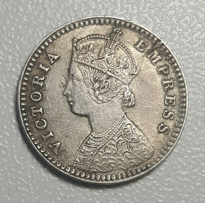 India 2 Annas 1883 C Incuse Queen Victoria Silver Coin VF+