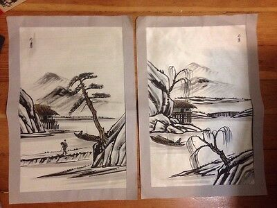 Original Japanese Asian Art Painting Signed Fabric River Boats Fishing
