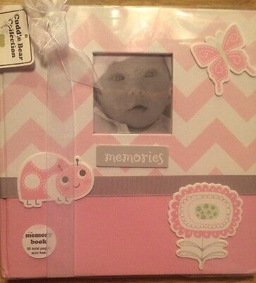 New Cuddle Bear Baby Memory Book Scrapbook Infant Girl Pink Chevron