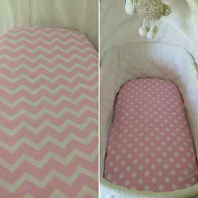 Bassinet, Moses or Boori basket fitted sheet, cotton Pink & white, dots, chevron
