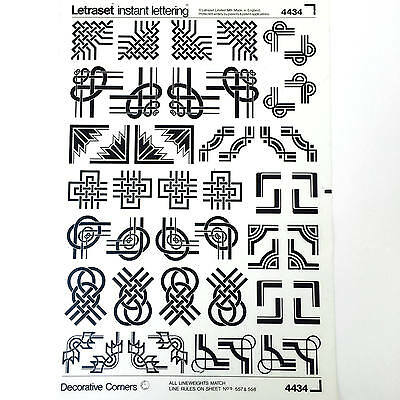 NEW & UNUSED SHEET LETRASET TRANSFERS Decorative Corners inc. Celtic knot style