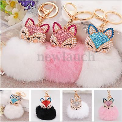 Cute Fox Fur Pearl Rhinestone Ball PomPom Key Chain Ring Car Bag Pendant