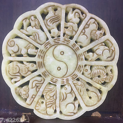 12Lunar New  Old Chinese  hand-carved natural Wada White jade  Pendant    A02