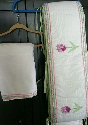 Pottery Barn Kids Crib Bumper & Crib Skirt Floral Rose Embroidered