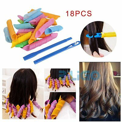 18Pcs Magic Hair Curler DIY Leverage Curlers Formers Spiral Styling Rollers【AU】