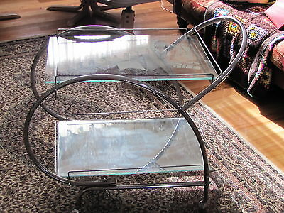 Art deco chrome and glass drinks trolley - Ship etched glass