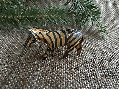 Vintage Folk Art Hand Carved Wooden Wood Zebra, Christmas Nativity Animal Figure