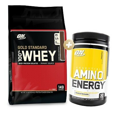 Optimum Nutrition 100% Gold Standard Protein 4.5Kg/10Lbs + Amino Energy 30 Serve