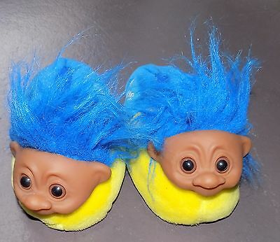 VTG 80s Norfin Troll Blue Yellow Plush Hairy Troll Children's Slippers sz S 13-1