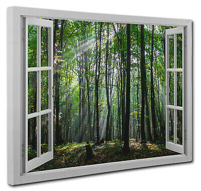 "Green Forest Trees Window View Landscape Canvas Print Wall Art A1 20""X30"" inch"