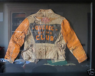 VINTAGE 30s HARLEY QUEBEC RACING CLUB MOTORCYCLE LEATHER JACKET